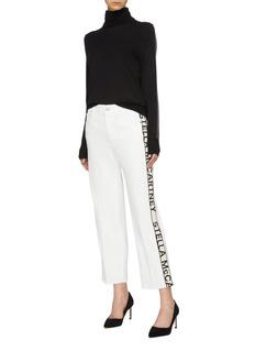 Stella McCartney Logo stripe outseam cropped organic cotton jeans
