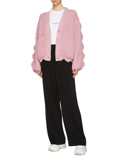 Stella McCartney Scalloped sleeve cotton-wool cardigan