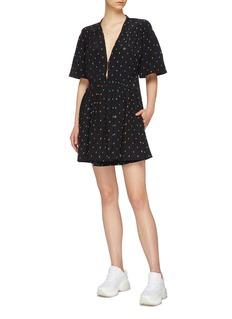 Stella McCartney Ditsy print hook-and-eye front silk dress
