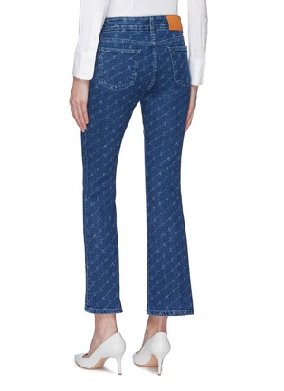 Back View - Click To Enlarge - STELLA MCCARTNEY - Monogram print cropped flared jeans