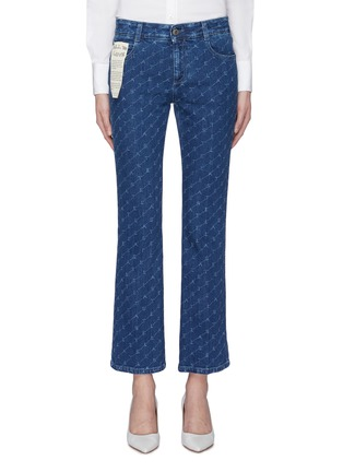 Main View - Click To Enlarge - STELLA MCCARTNEY - Monogram print cropped flared jeans