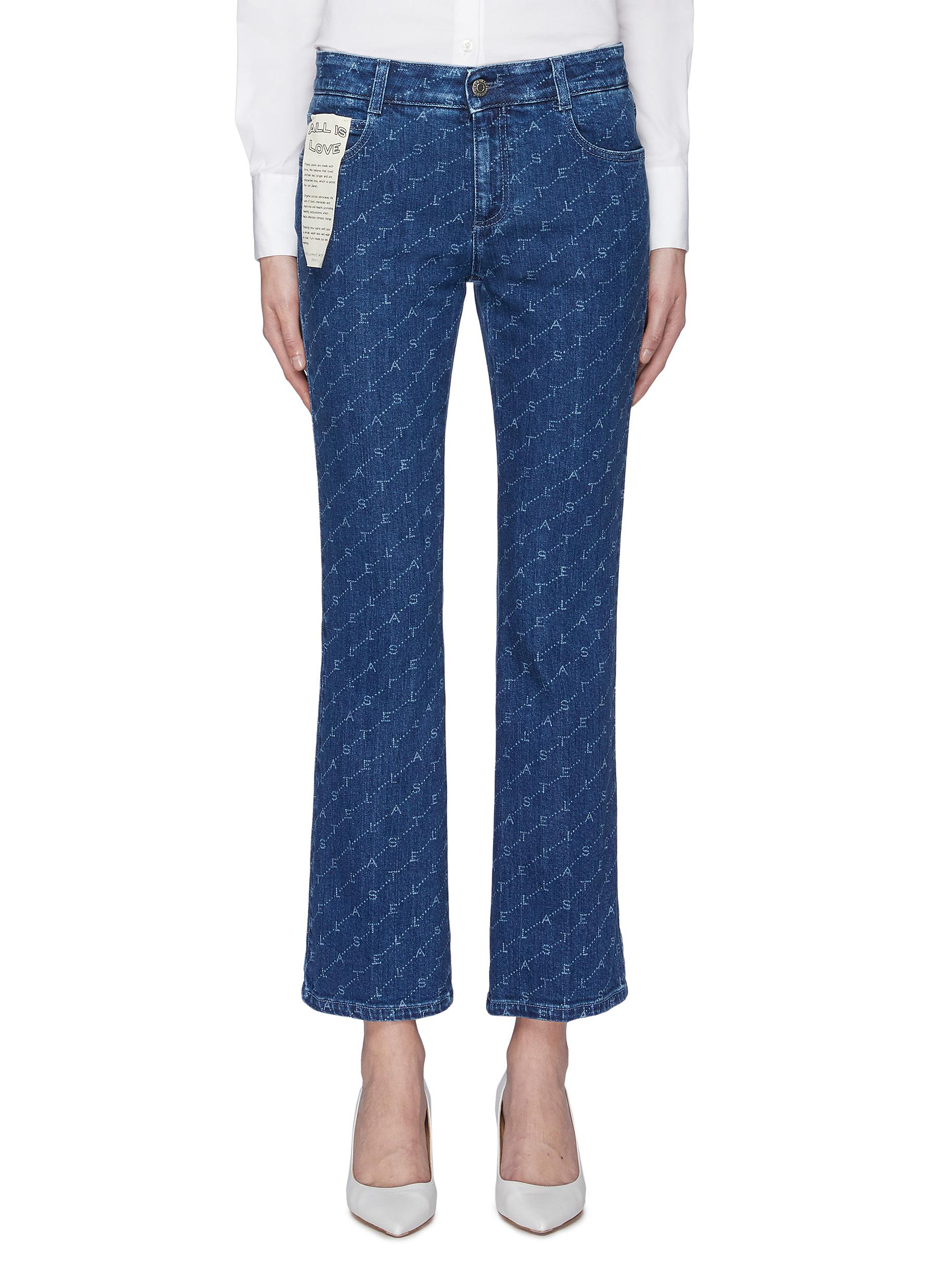 Monogram print cropped flared jeans by Stella Mccartney
