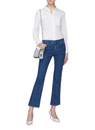 Figure View - Click To Enlarge - STELLA MCCARTNEY - Monogram print cropped flared jeans