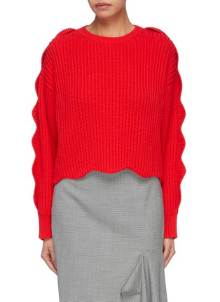 b5ee9c243805 Stella McCartney. Scalloped sleeve cotton-wool rib knit sweater