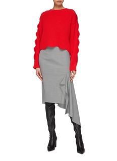 Stella McCartney Scalloped sleeve cotton-wool rib knit sweater