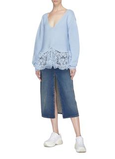 Stella McCartney Tie back broderie anglaise hem oversized knit top