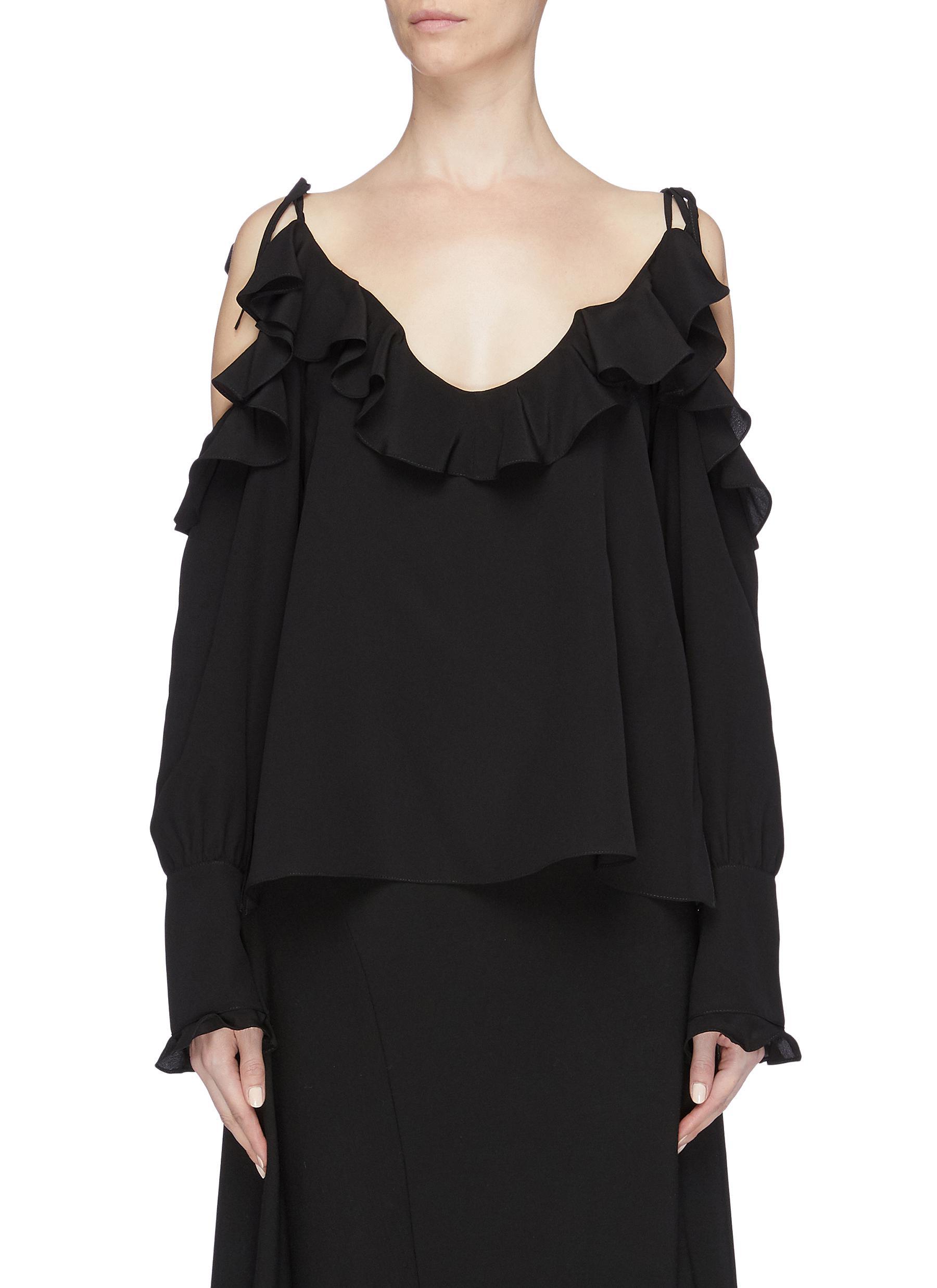 cbc76430d36 Stella McCartney | Ruffle trim cold shoulder asymmetric silk top ...