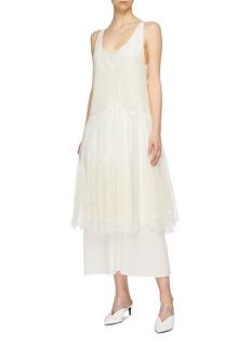 Stella McCartney Broderie anglaise silk tulle overlay dress