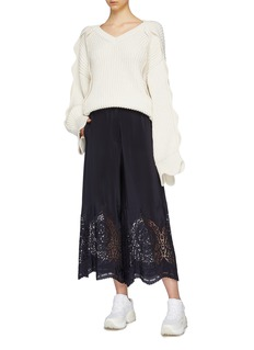 Stella McCartney Broderie anglaise cuff silk satin culottes