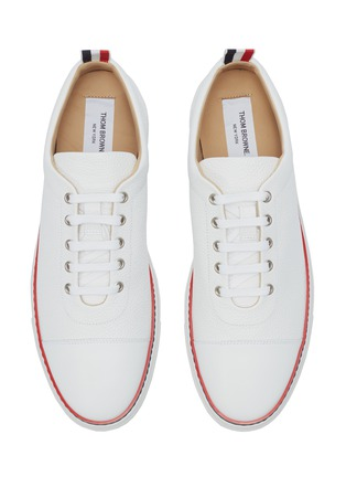 Detail View - Click To Enlarge - Thom Browne - Pebble grain leather sneakers