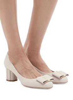 Salvatore Ferragamo 'Capua' flower heel leather pumps