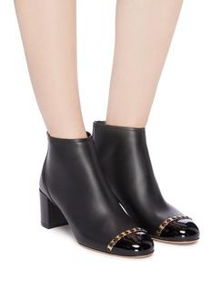 Salvatore Ferragamo 'Atri' patent toe cap Vara chain leather ankle boots