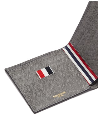 Detail View - Click To Enlarge - THOM BROWNE - Stripe pebble grain leather bifold wallet