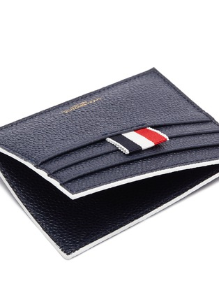 Detail View - Click To Enlarge - THOM BROWNE - Stripe pebble grain leather card holder