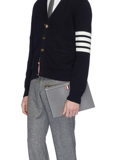 Thom Browne Stripe small pebble grain leather tablet holder