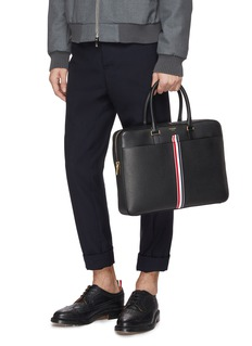 Thom Browne Stripe leather business bag