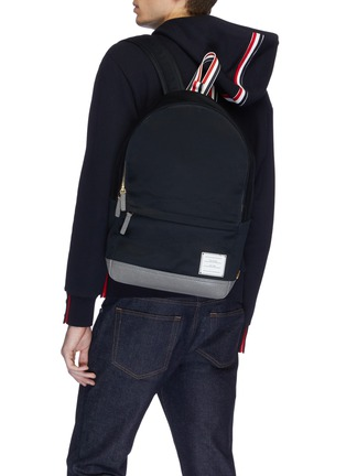 Figure View - Click To Enlarge - Thom Browne - Stripe handle twill backpack
