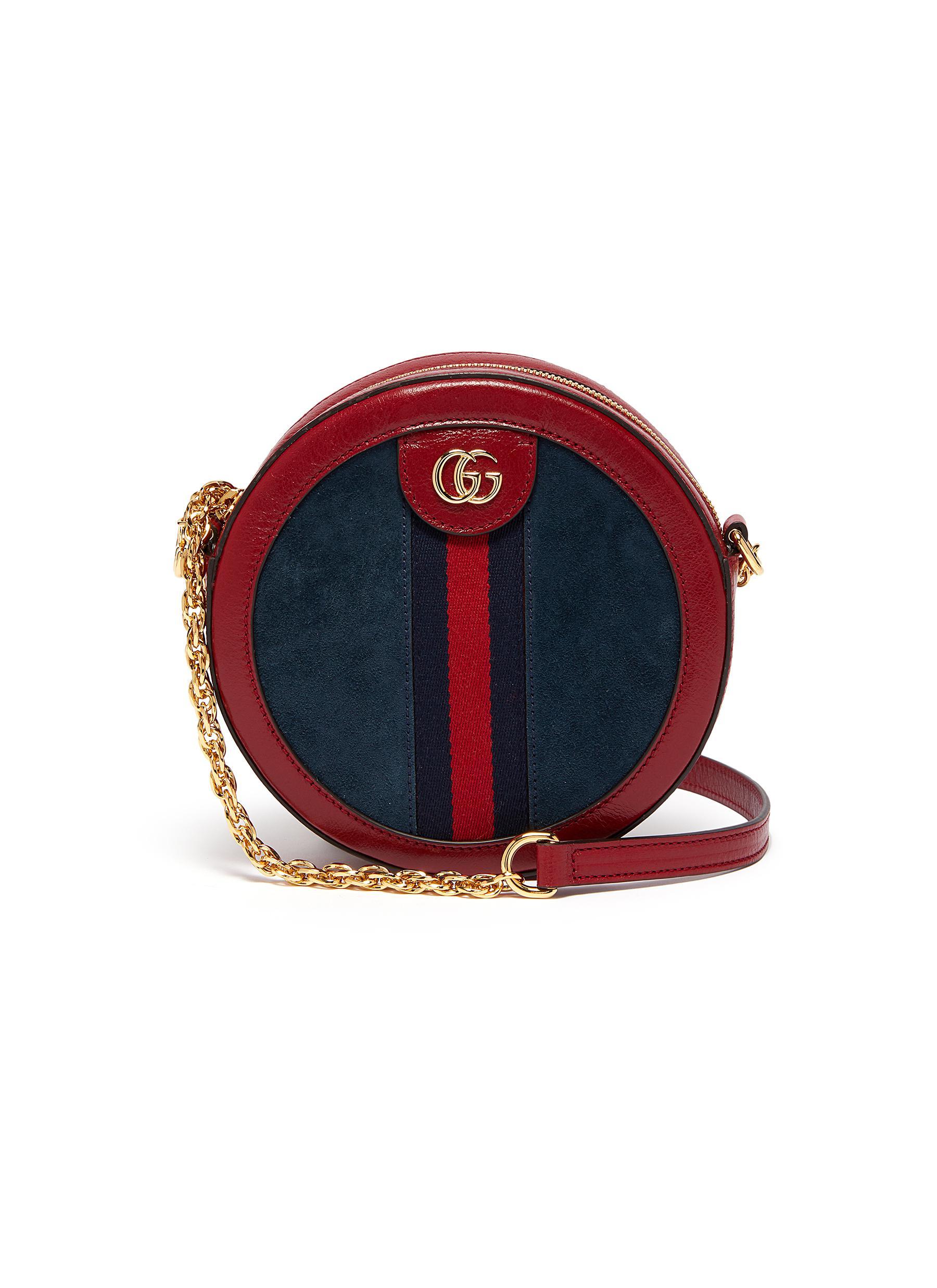 58e93613d12021 Gucci | 'Ophidia' mini logo Web stripe round suede crossbody bag ...