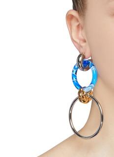 Balenciaga Mix hoop link drop earrings