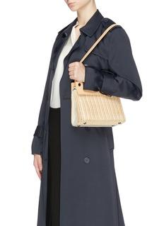 RODO Leather canvas panel wicker shoulder bag