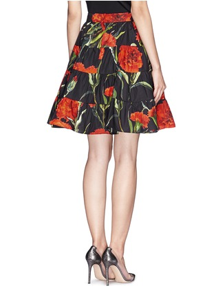 Back View - Click To Enlarge - Dolce & Gabbana - Carnation print patchwork ruche skirt