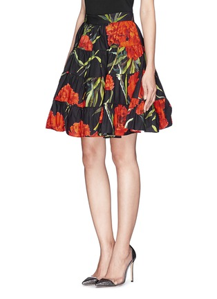 Front View - Click To Enlarge - Dolce & Gabbana - Carnation print patchwork ruche skirt