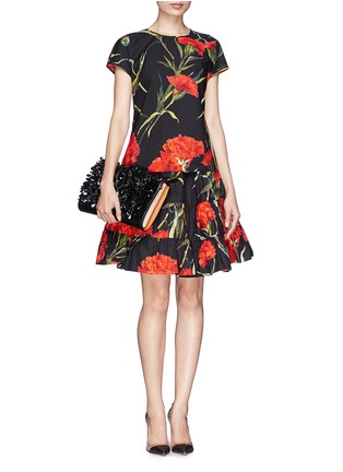 Figure View - Click To Enlarge - Dolce & Gabbana - Carnation print patchwork ruche skirt