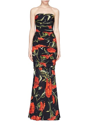 Main View - Click To Enlarge - Dolce & Gabbana - Carnation print drape strapless mermaid gown