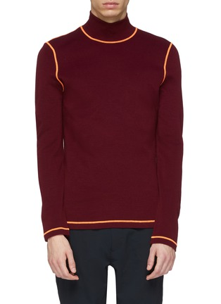 Main View - Click To Enlarge - 8ON8 - Contrast topstitching turtleneck sweater
