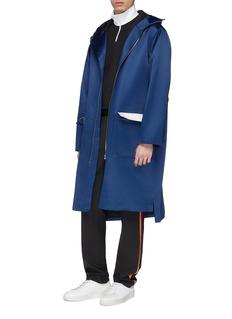 8ON8 Flap pocket drawstring waist hooded satin coat