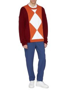 8ON8 Geometric appliqué colourblock sweater