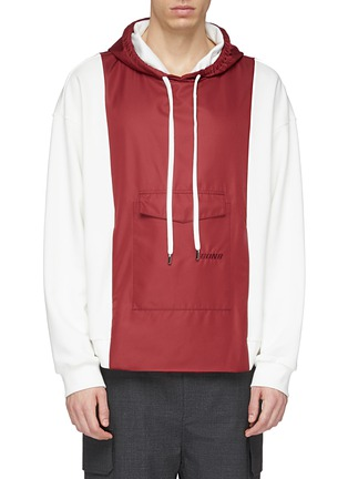 Main View - Click To Enlarge - 8ON8 - Colourblock satin panel hoodie