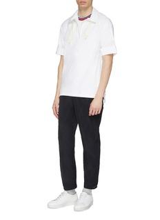 8ON8 Drawstring collar zip placket poplin polo shirt