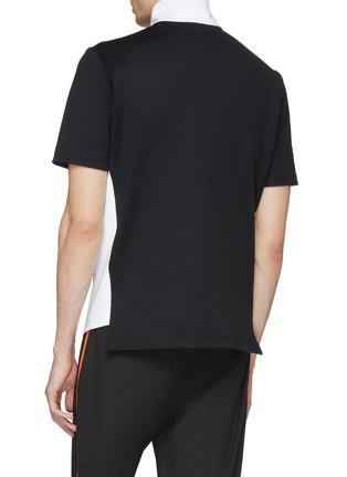 Back View - Click To Enlarge - 8ON8 - Colourblock outseam short sleeve turtleneck sweatshirt