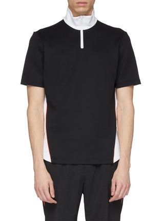Main View - Click To Enlarge - 8ON8 - Colourblock outseam short sleeve turtleneck sweatshirt