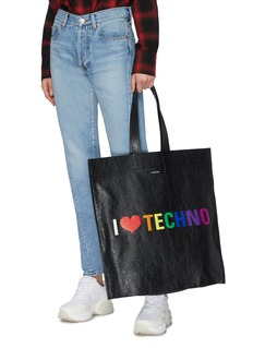 Balenciaga 'Supermarket Shopper' slogan print large leather tote