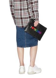 Balenciaga 'Supermarket' slogan print medium leather pouch