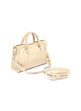 Detail View - Click To Enlarge - BALENCIAGA - 'Classic City' logo strap small leather shoulder bag