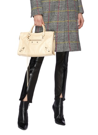 Front View - Click To Enlarge - BALENCIAGA - 'Classic City' logo strap small leather shoulder bag