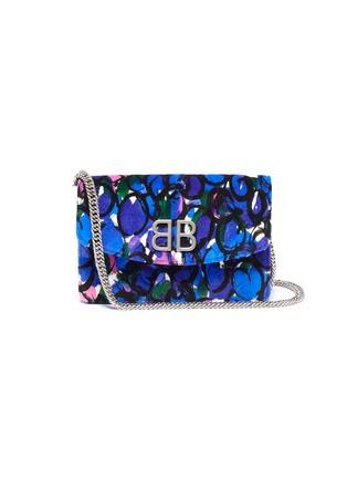 Main View - Click To Enlarge - Balenciaga - 'BB' graphic print velvet chain wallet