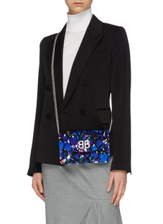 Balenciaga 'BB' graphic print velvet chain wallet
