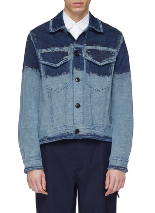 Main View - Click To Enlarge - PRONOUNCE - Scratched panel cropped denim jacket