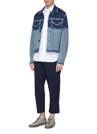 Figure View - Click To Enlarge - PRONOUNCE - Scratched panel cropped denim jacket