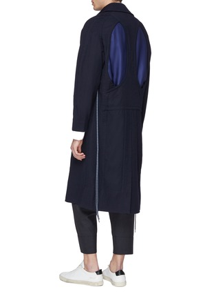 Back View - Click To Enlarge - Pronounce - Drawstring side patchwork back wool coat