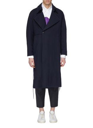 Main View - Click To Enlarge - Pronounce - Drawstring side patchwork back wool coat