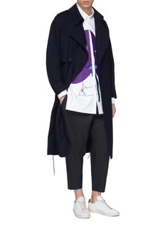 PRONOUNCE Drawstring side patchwork back wool coat