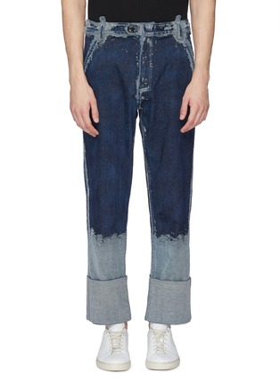 Main View - Click To Enlarge - PRONOUNCE - Scratched roll cuff jeans