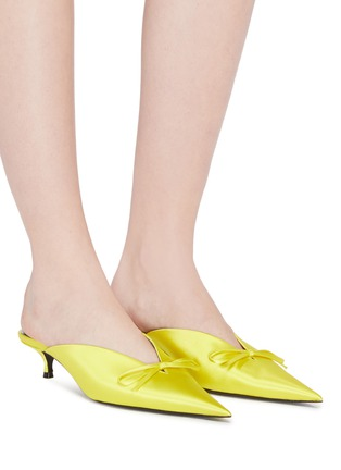 Figure View - Click To Enlarge - BALENCIAGA - 'Knife' bow satin mules