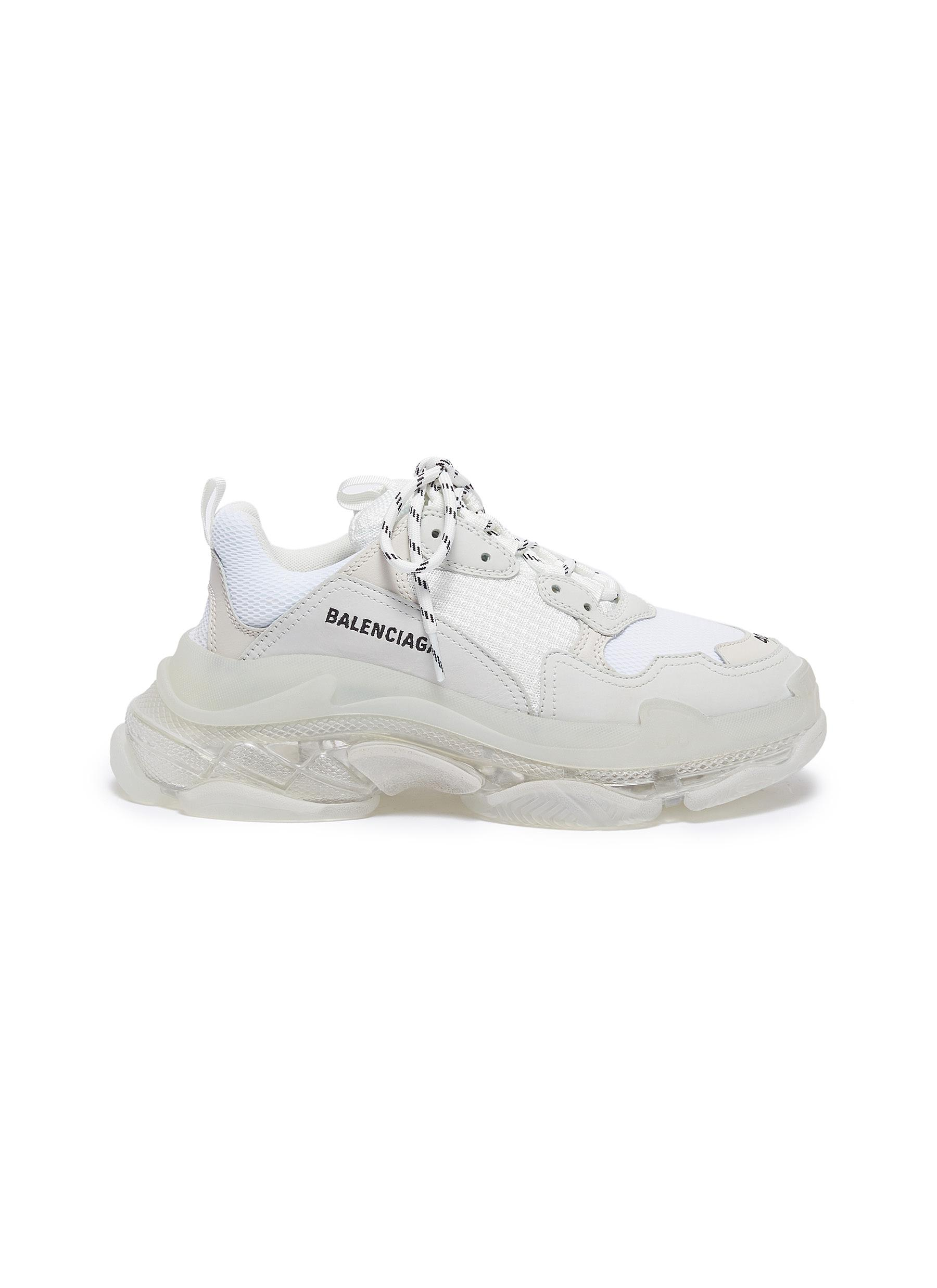Triple S Clear Sole stack midsole mesh sneakers by Balenciaga