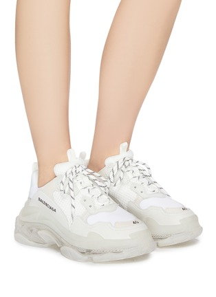 Figure View - Click To Enlarge - BALENCIAGA - 'Triple S Clear Sole' stack midsole mesh sneakers